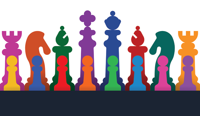 Illustration of chess pieces in many different colors