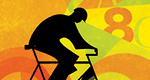Illustration of a cyclist whose pedaling turns data into energy