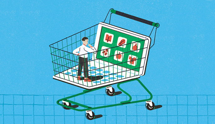 Illustration of a traditional shopping cart partially composed of a laptop