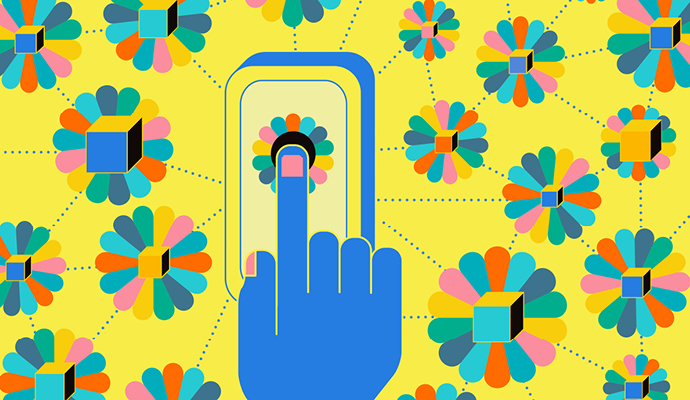 A drawing shows a blue hand touching a multicolored flower on a smartphone screen, which is centered against a yellow background decorated with similar multicolored flowers.