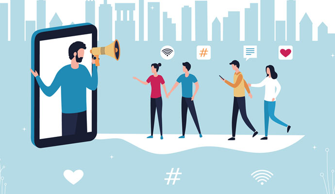 Illustration showing a social media influencer in a smartphone, using a megaphone to convey a message to his followers