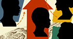 A drawing shows four profiles in silhouette against colored backgrounds of blue, red, yellow, and green. The red background, in the center, is an upward-pointing arrow.