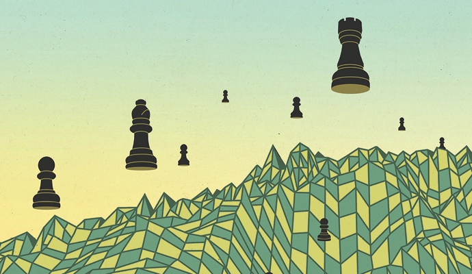 An illustration showing black chess pieces floating above a yellow-and-blue chessboard with a warped surface.