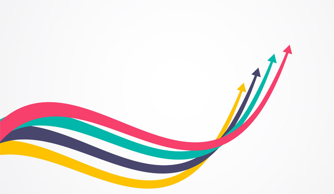 An illustration of four arrows — pink, teal, navy, and yellow — swooping together into an upward trajectory.