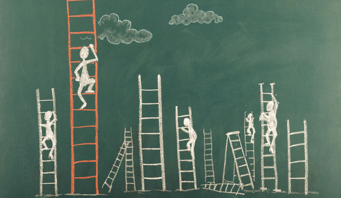 Chalkboard drawing of stick figures climbing ladders of varying heights