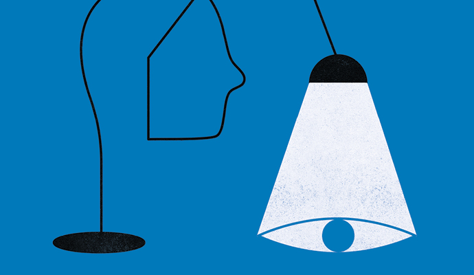 An illustration of a black lamp with a wire base that is twisted to form a face in profile, against a blue background. The light from the lamp shines downward and pools in the shape of an eye.
