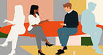 An abstract illustration of a woman and a man talking against a multicolor background. Two pale silhouettes—the woman and man's images in reverse—sit on either side of them.