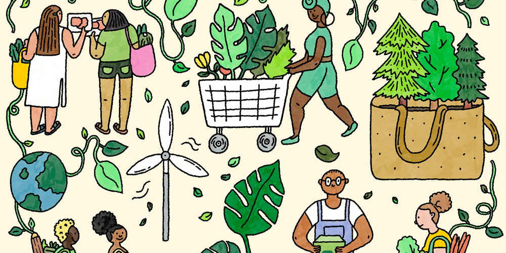 A montage of eco-themed illustrations against an off-white background, including a woman pushing a shopping cart full of greenery, a brown bag with trees sprouting out of it, and a wind turbine.