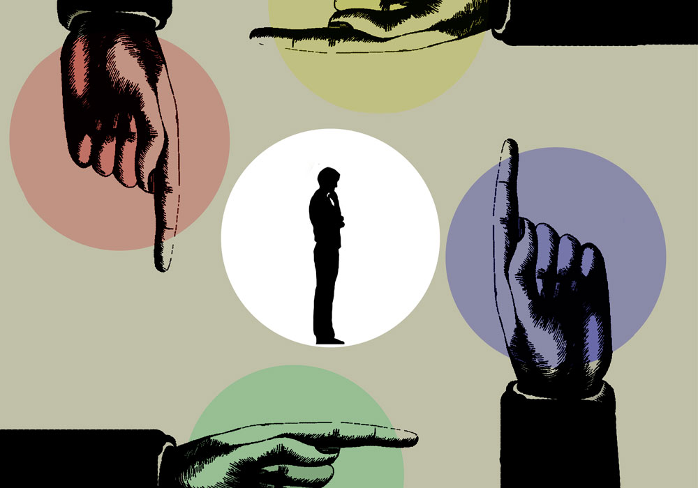 A conceptual image shows a man considering his options, as represented by four hands that surround him and point in different directions.
