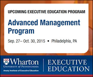 Wharton's Advanced Management Program is for senior executives seeking a learning experience that will immerse themselves in new ways of thinking, challenge their assumptions and provide exposure to previously unforeseen opportunities for personal and professional growth.