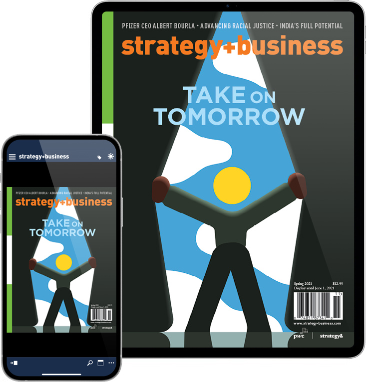 Tablet and smartphone displaying the strategy+business apps